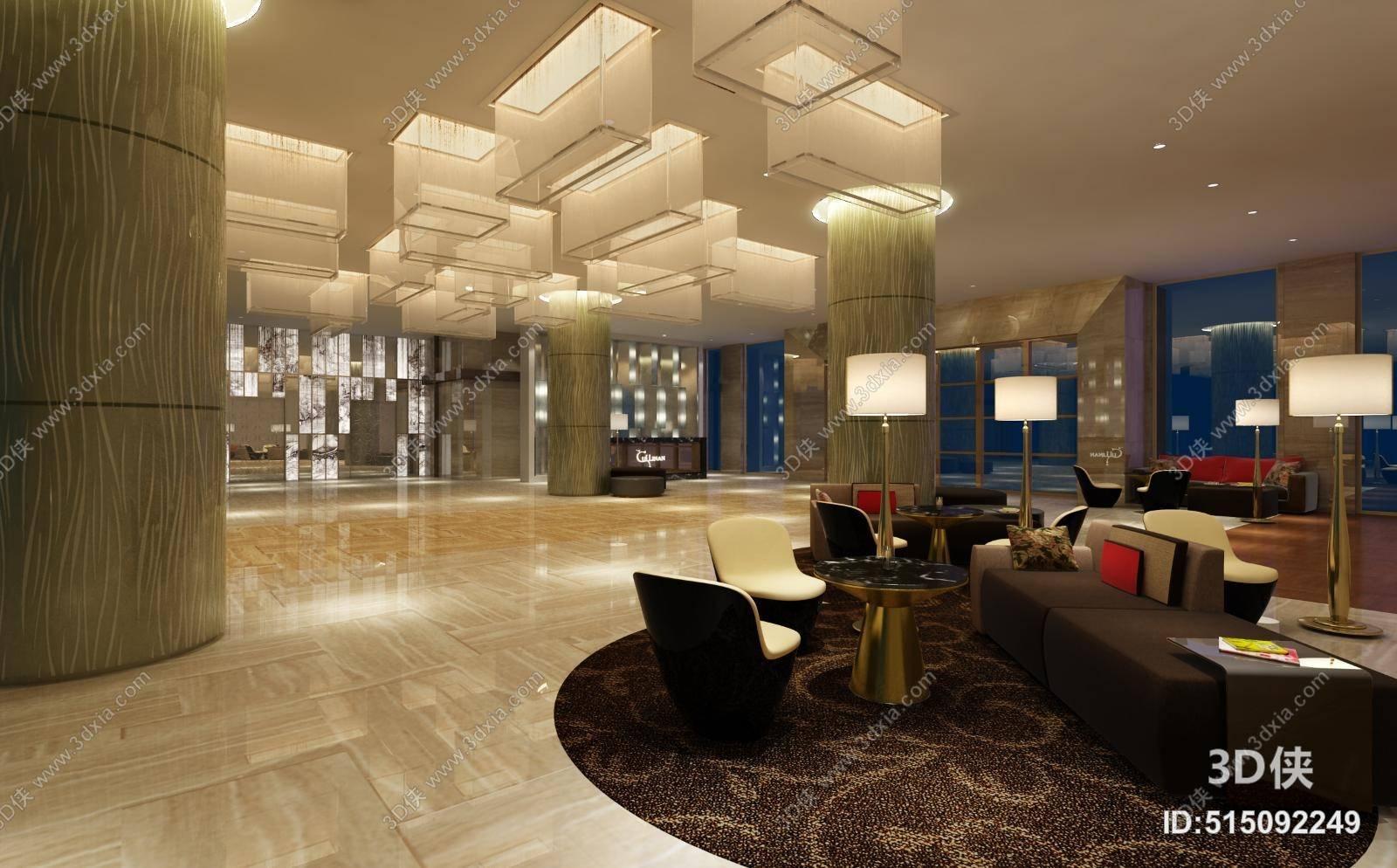 2007,建议使用3dmax 2012 软件打开,该现代酒店休息区图片素材大小是