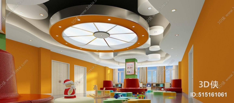 效果图素材免费下载,本作品主题是现代暖色活动中心 现代橙黄色玻璃吸