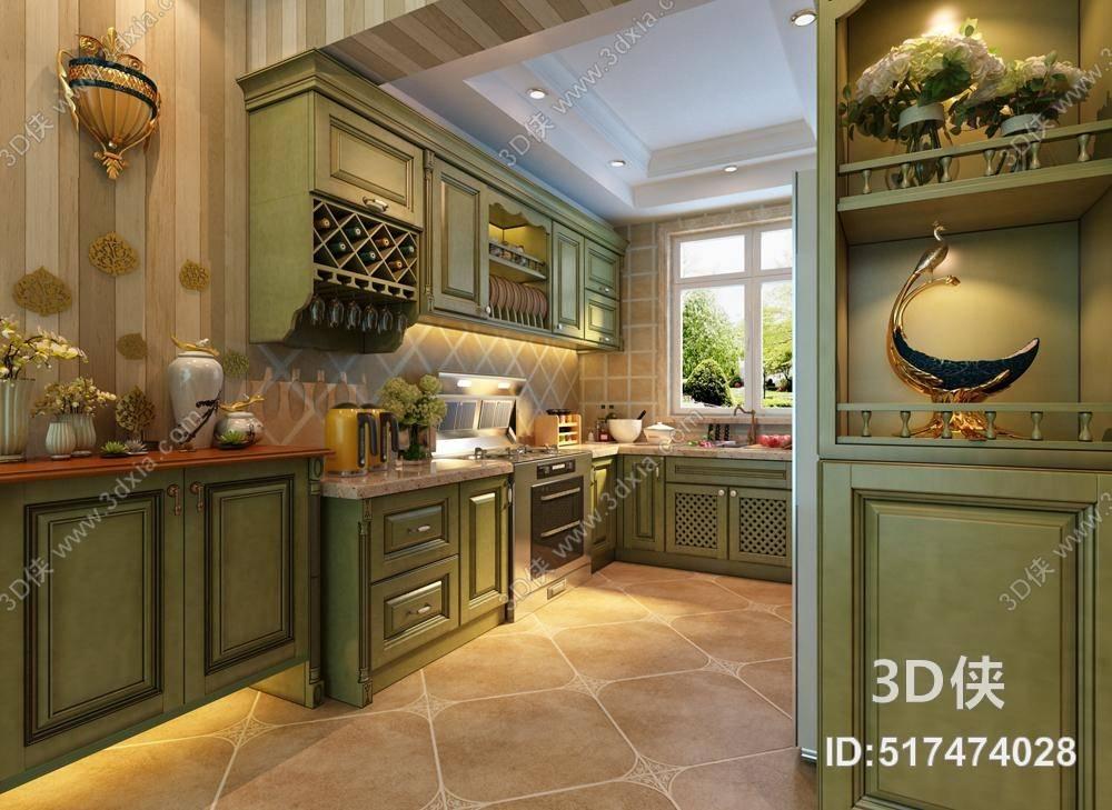 英式田园家居开放厨房 英式田园绿色木艺厨房壁柜 英式田园绿色木艺收纳柜