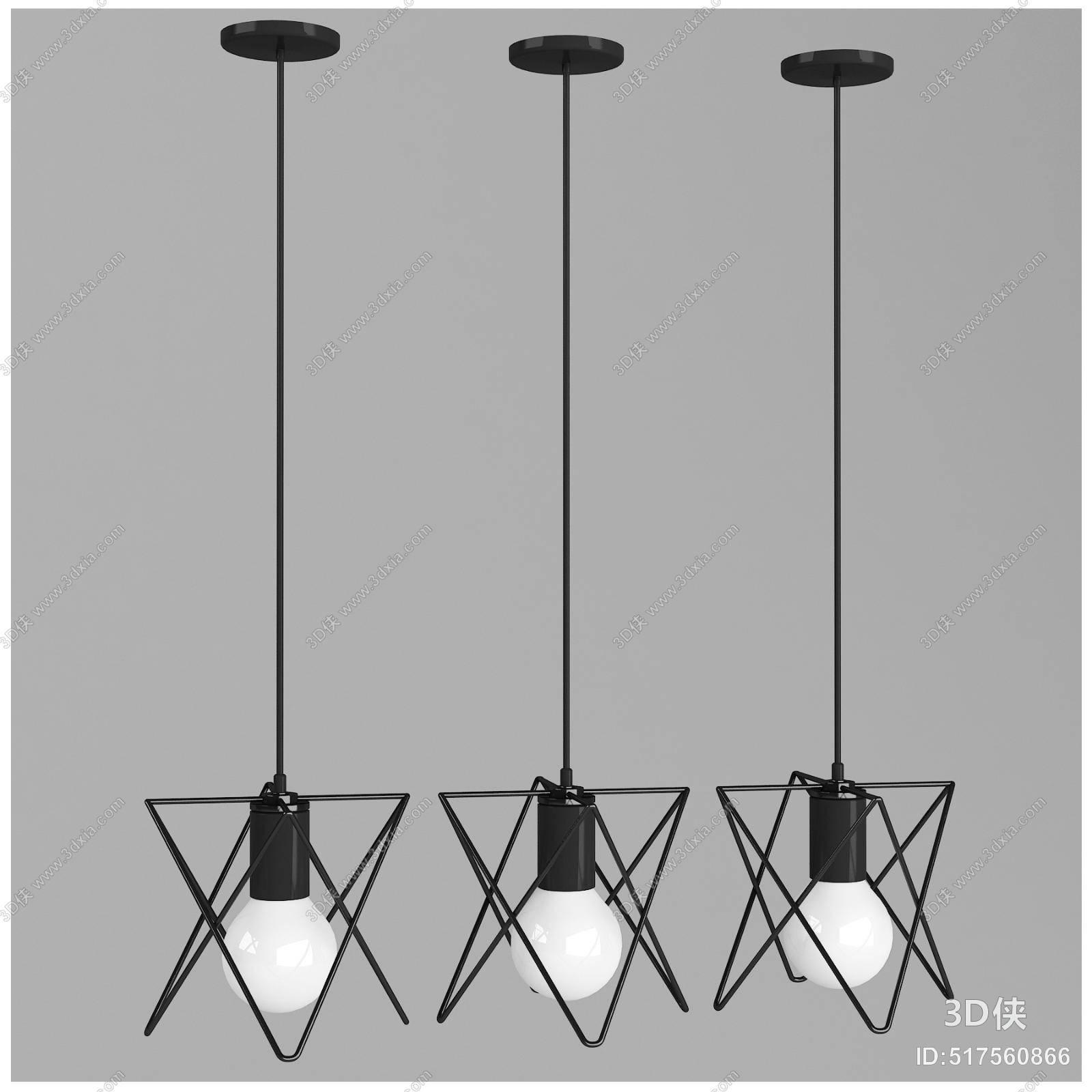 工业风黑色铁艺吊灯3d模型【id:517560866】