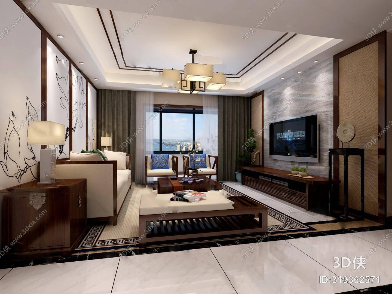 中式客餐厅3d模型 电视柜 沙发茶几组合 边柜图片