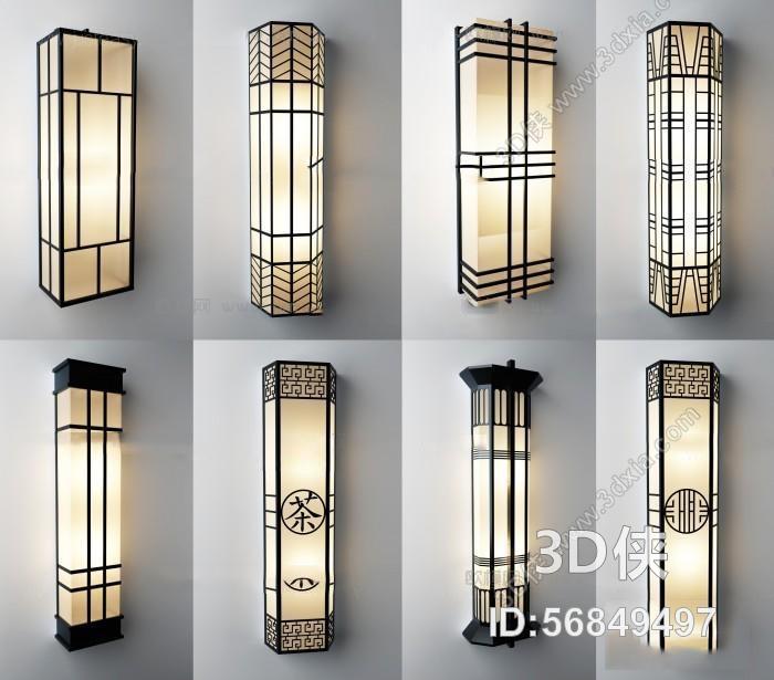 提供精美好看的 壁灯 效果图素材免费下载,本作品主题是中式壁灯组合