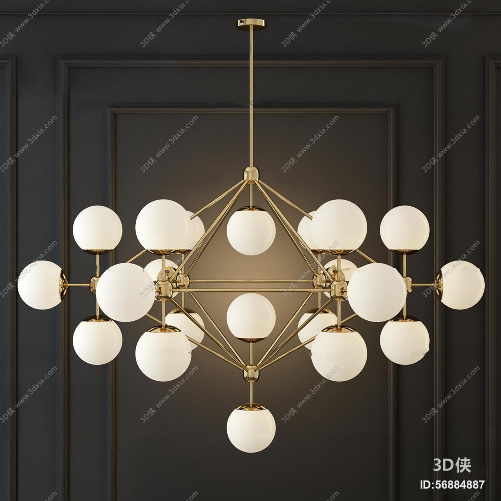 现代金属圆球吊灯3d模型【id:56884887】
