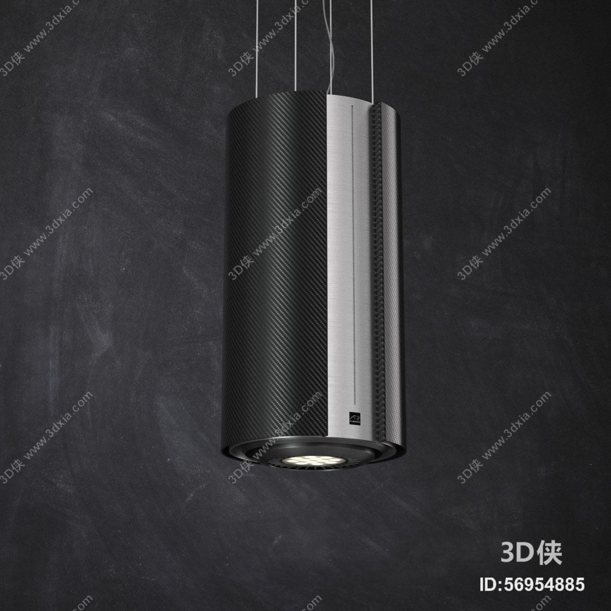 现代简约圆柱形金属吊灯灯饰3d模型【id:56954885】