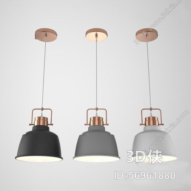 北欧金属吊灯组合3D模型