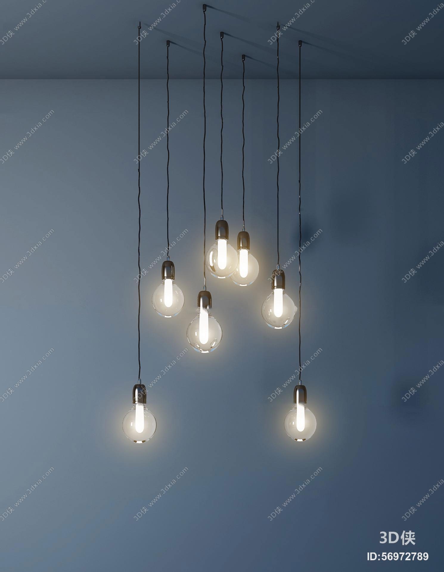 工业风玻璃小灯泡吊灯3D模型