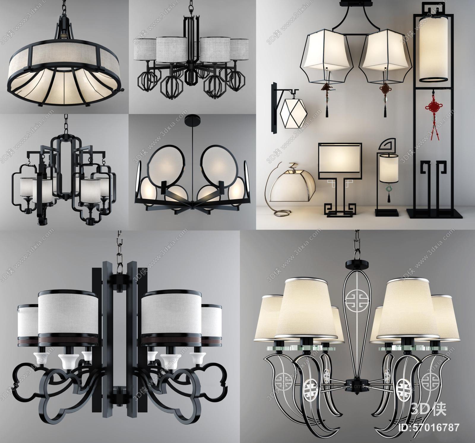 吊灯效果图素材免费下载,本作品主题是新中式吊灯台灯壁灯落地灯3d