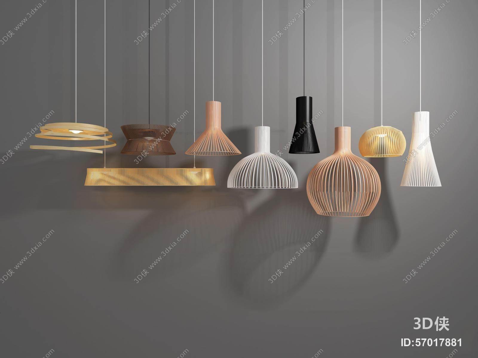 现代铁艺小吊灯组合3D模型