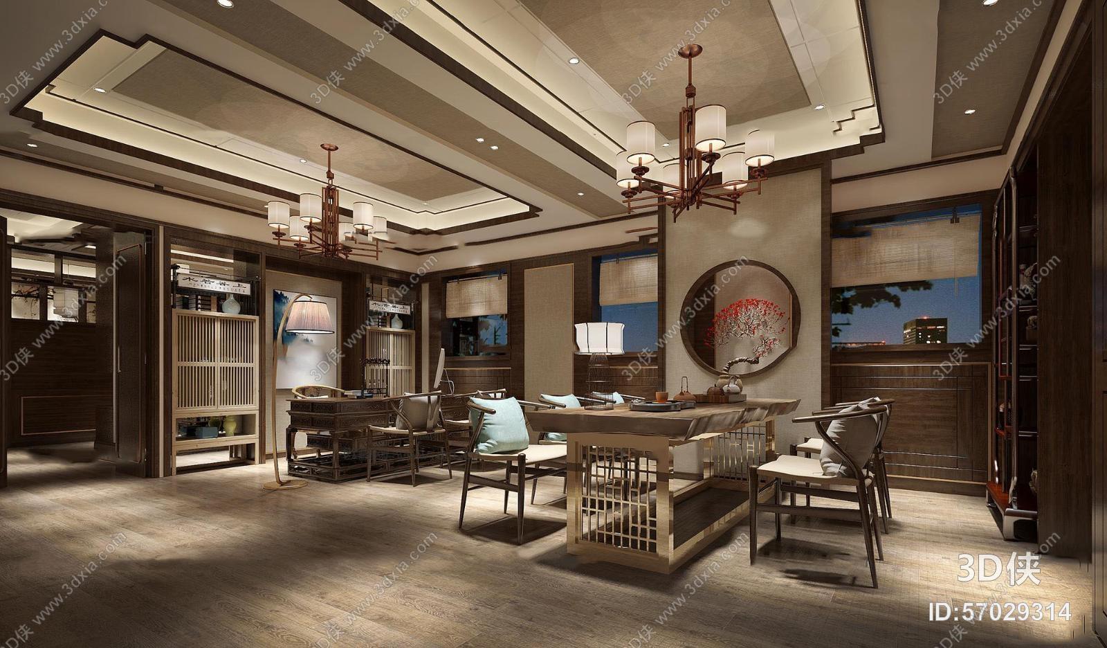 茶馆效果图素材免费下载,本作品主题是中式会所茶室接待区3d模型,编号