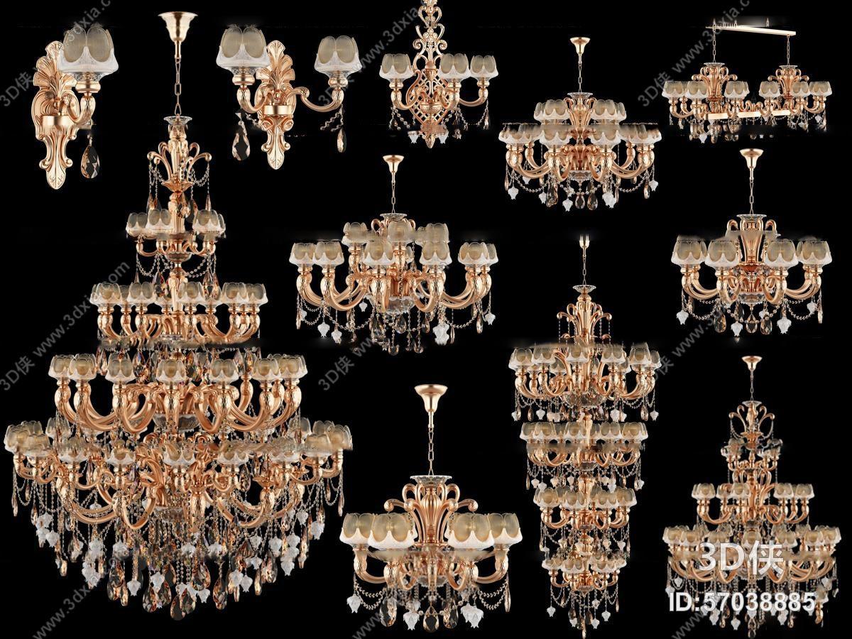 欧式多层水晶吊灯壁灯组合3d模型【id:57038885】