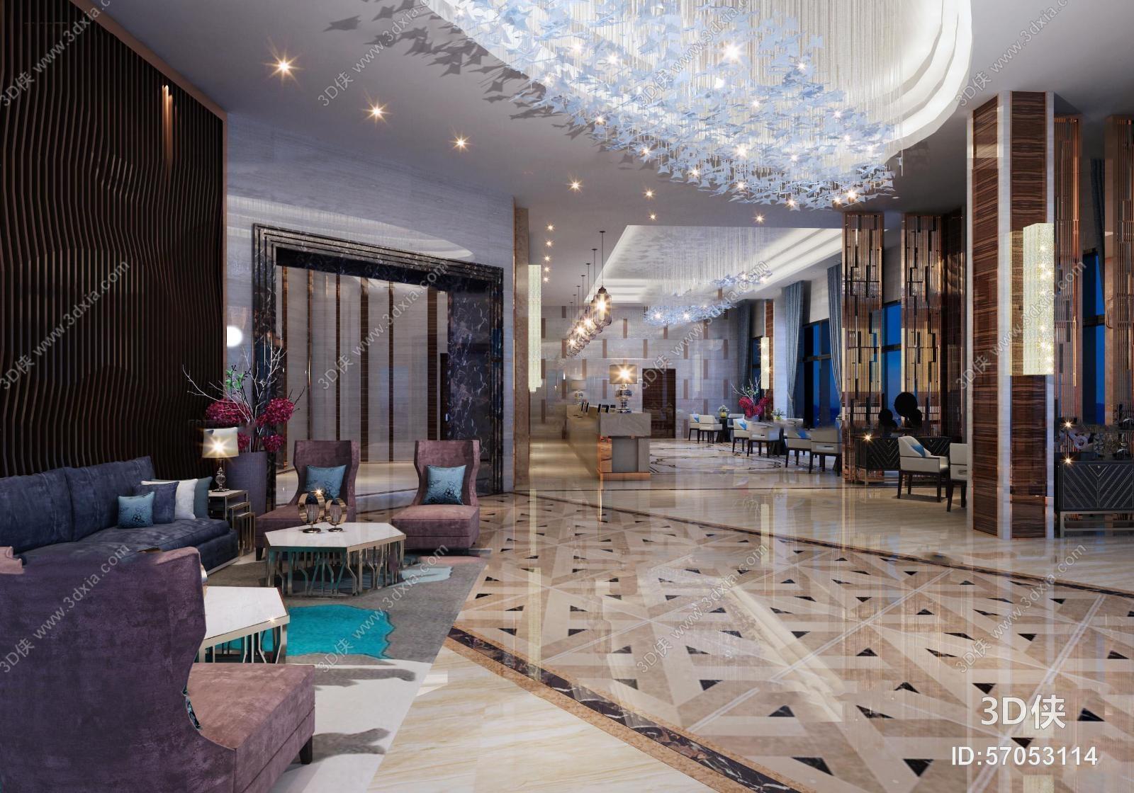 酒店大堂效果图素材免费下载,本作品主题是现代酒店大堂休息区西餐厅