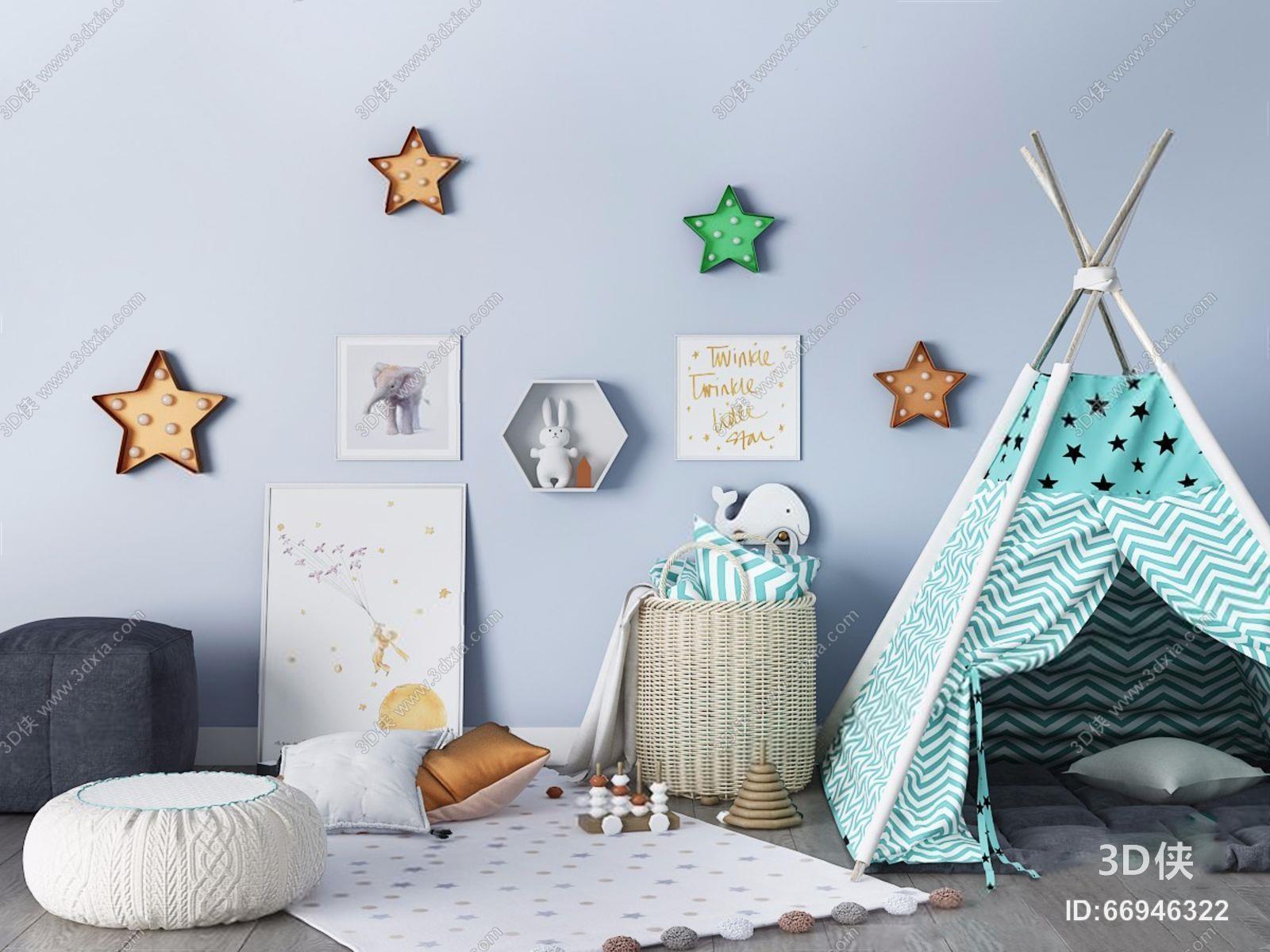 效果图素材免费下载,本作品主题是北欧儿童帐篷 北欧儿童帐篷 玩具 墙