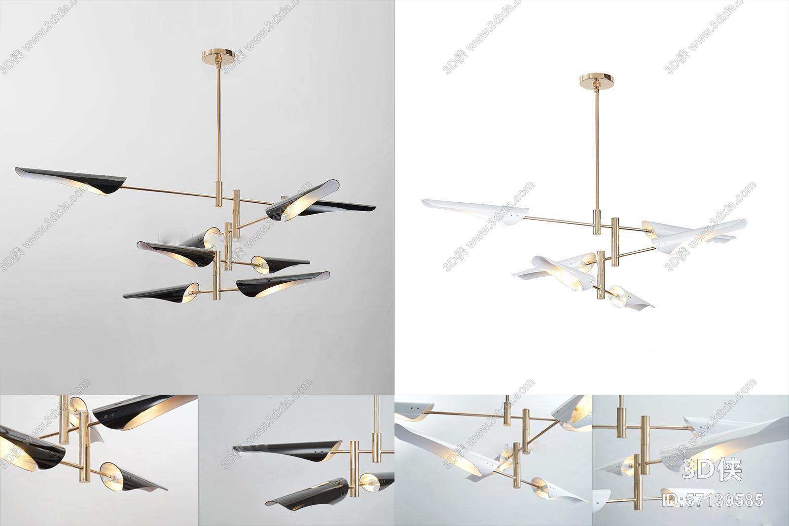 现代金属吊灯3D模型下载
