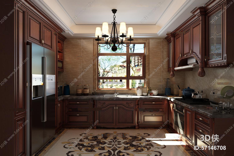 美式实木橱柜厨房3D模型
