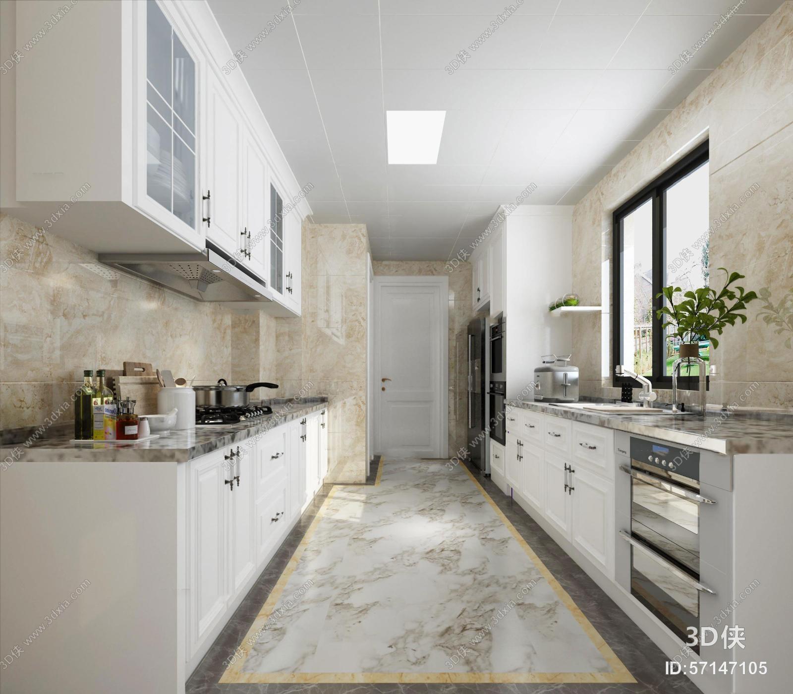 欧式厨房空间3D模型
