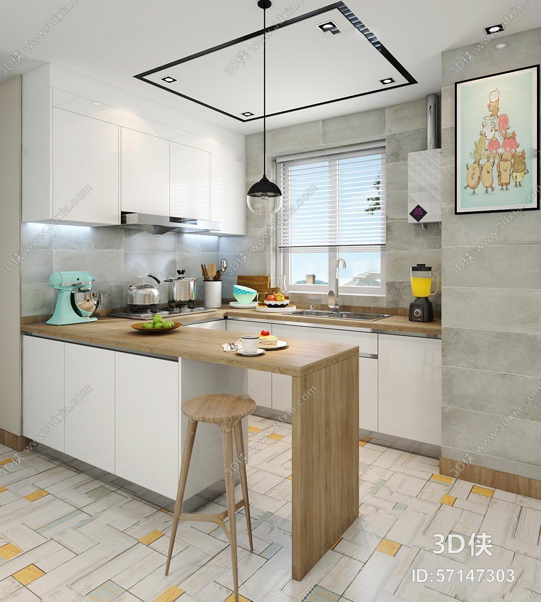 北欧厨房橱柜吧台3D模型