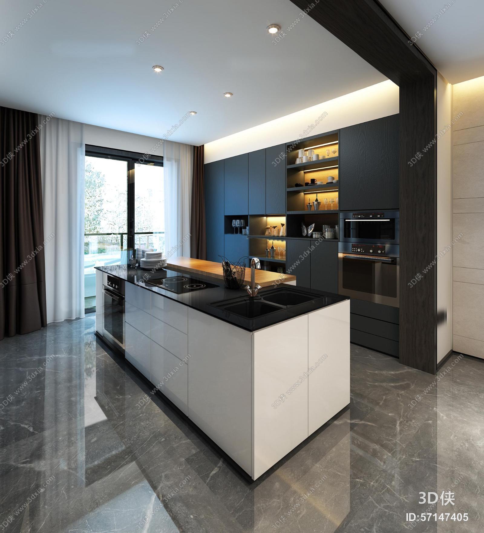 现代厨房橱柜餐厅组合3D模型