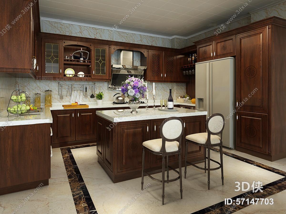 家居开放厨房效果图素材免费下载,本作品主题是欧式厨房橱柜中岛柜