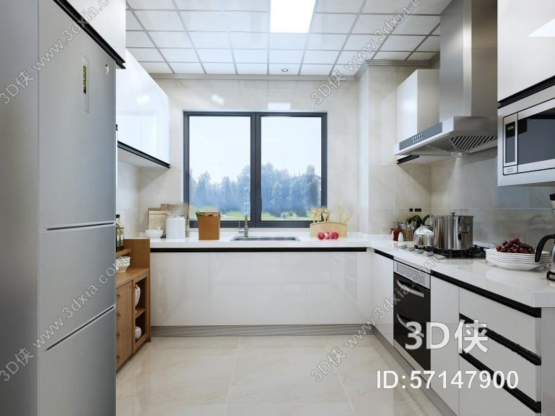 现代厨房橱柜3d模型下载