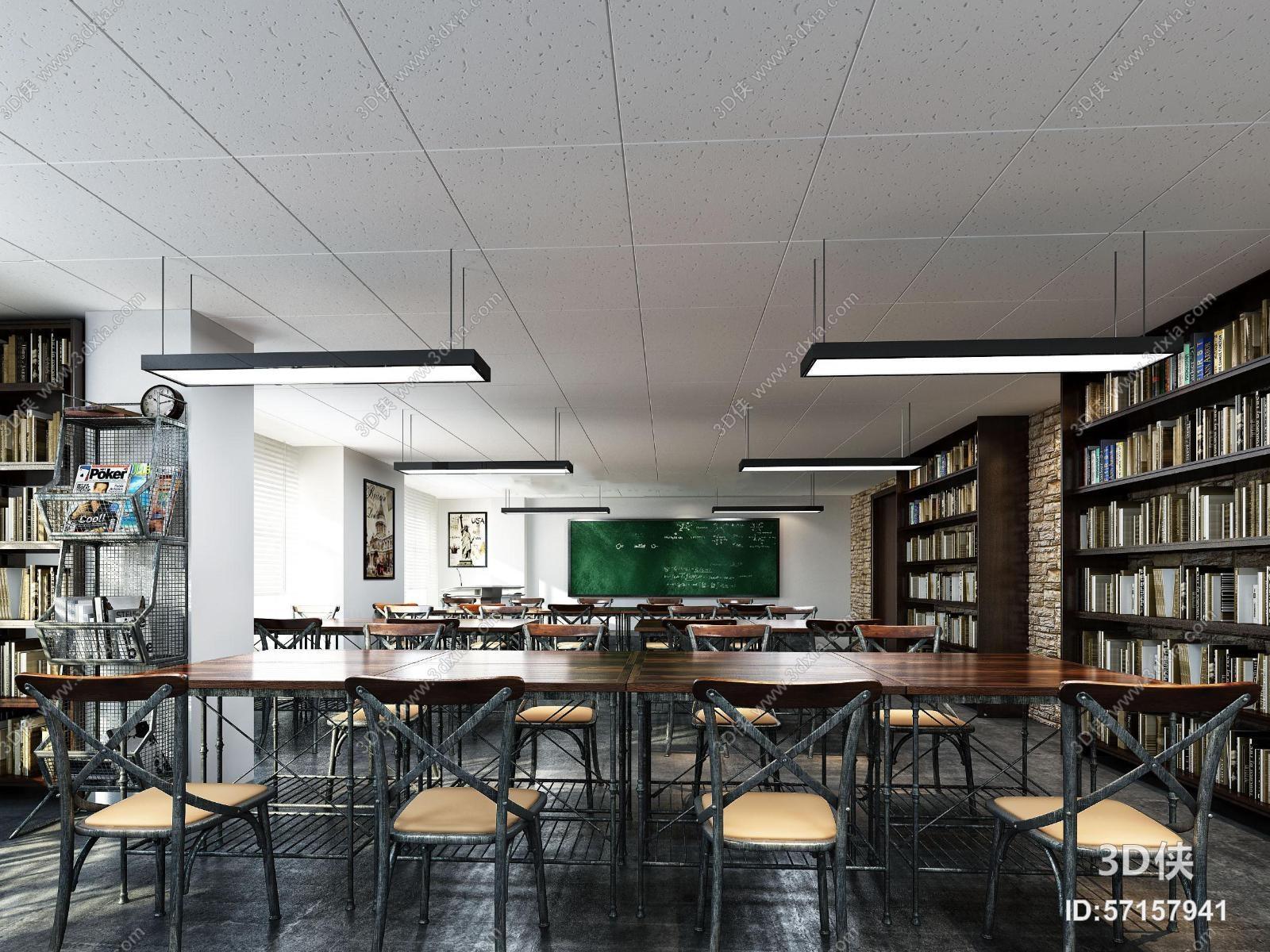 现代工业风格学校自习教室3D模型下载