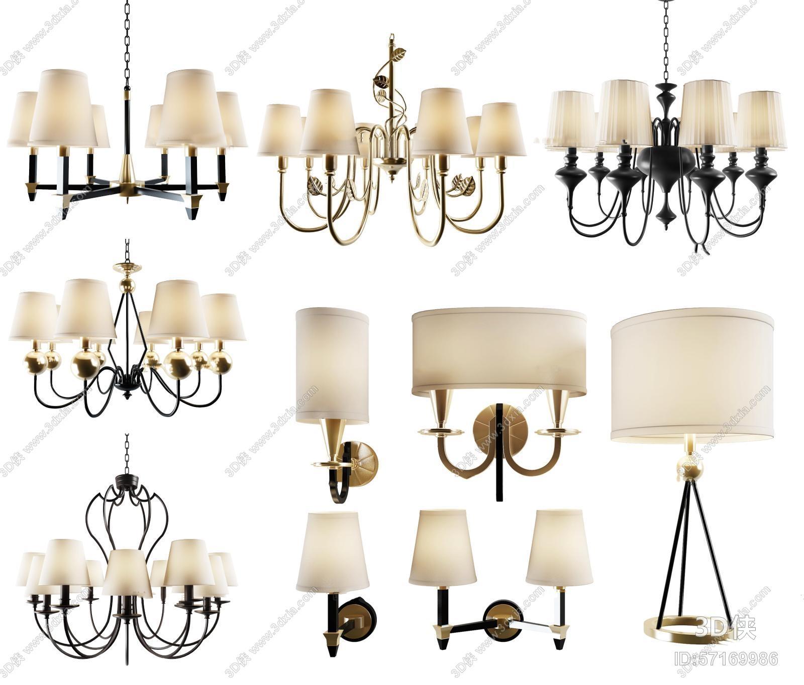 吊灯效果图素材免费下载,本作品主题是美式吊灯壁灯台灯组合3d模型