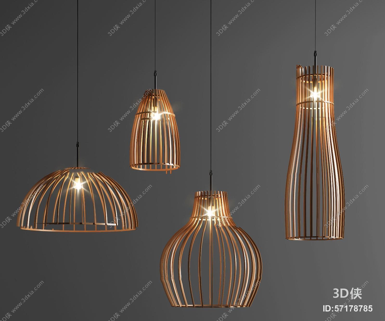 吊灯效果图素材免费下载,本作品主题是现代金属小吊灯组合3d模型,编号