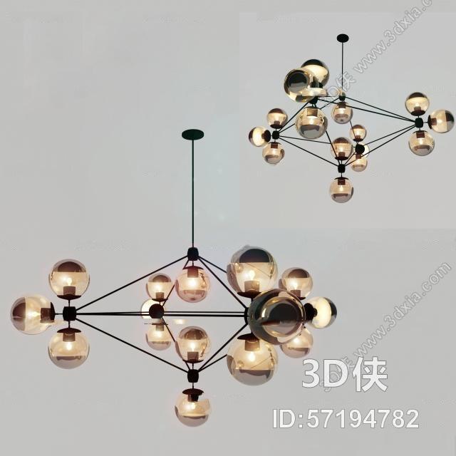 现代玻璃吊灯3D模型