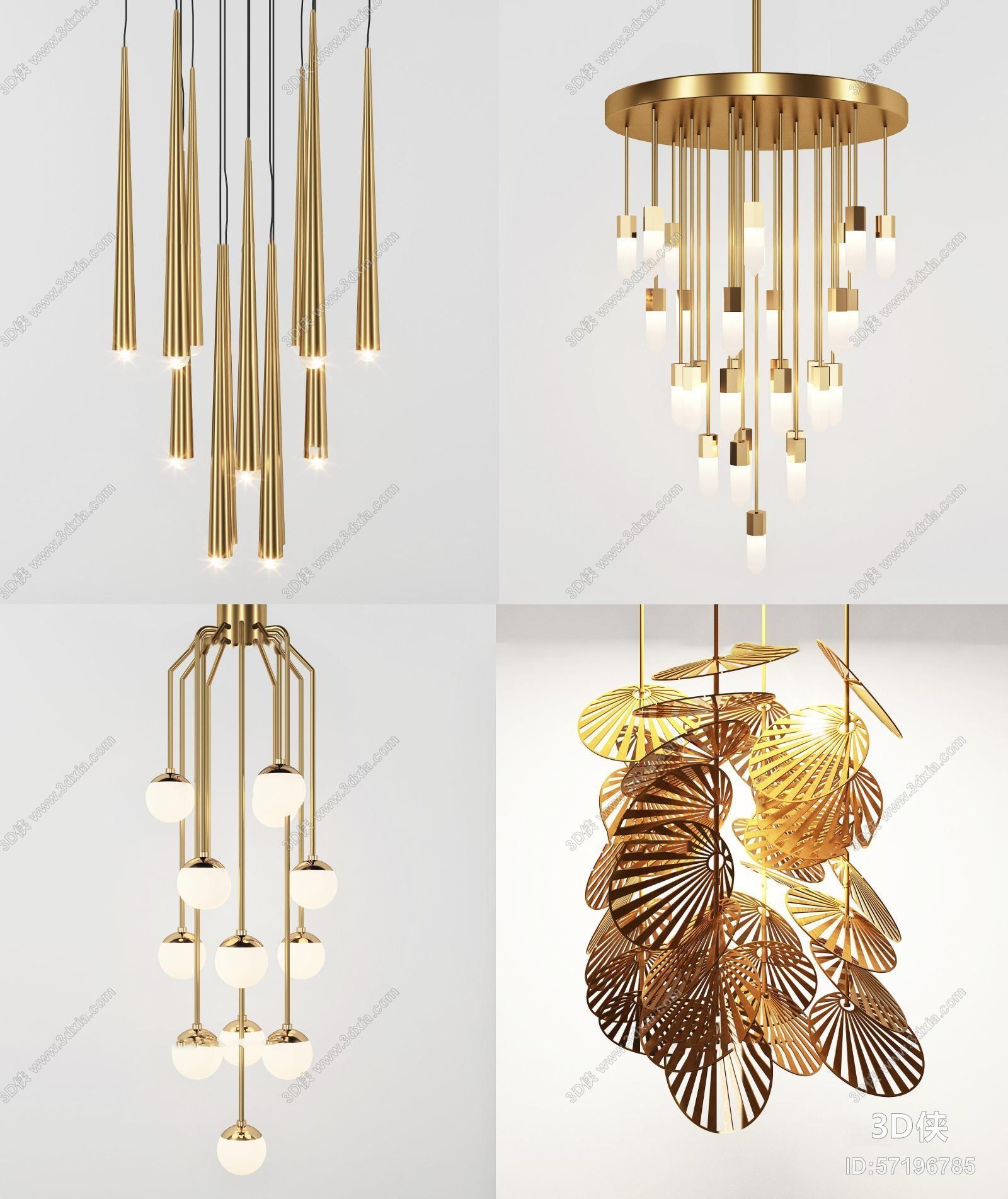 新中式金属吊灯组合3D模型
