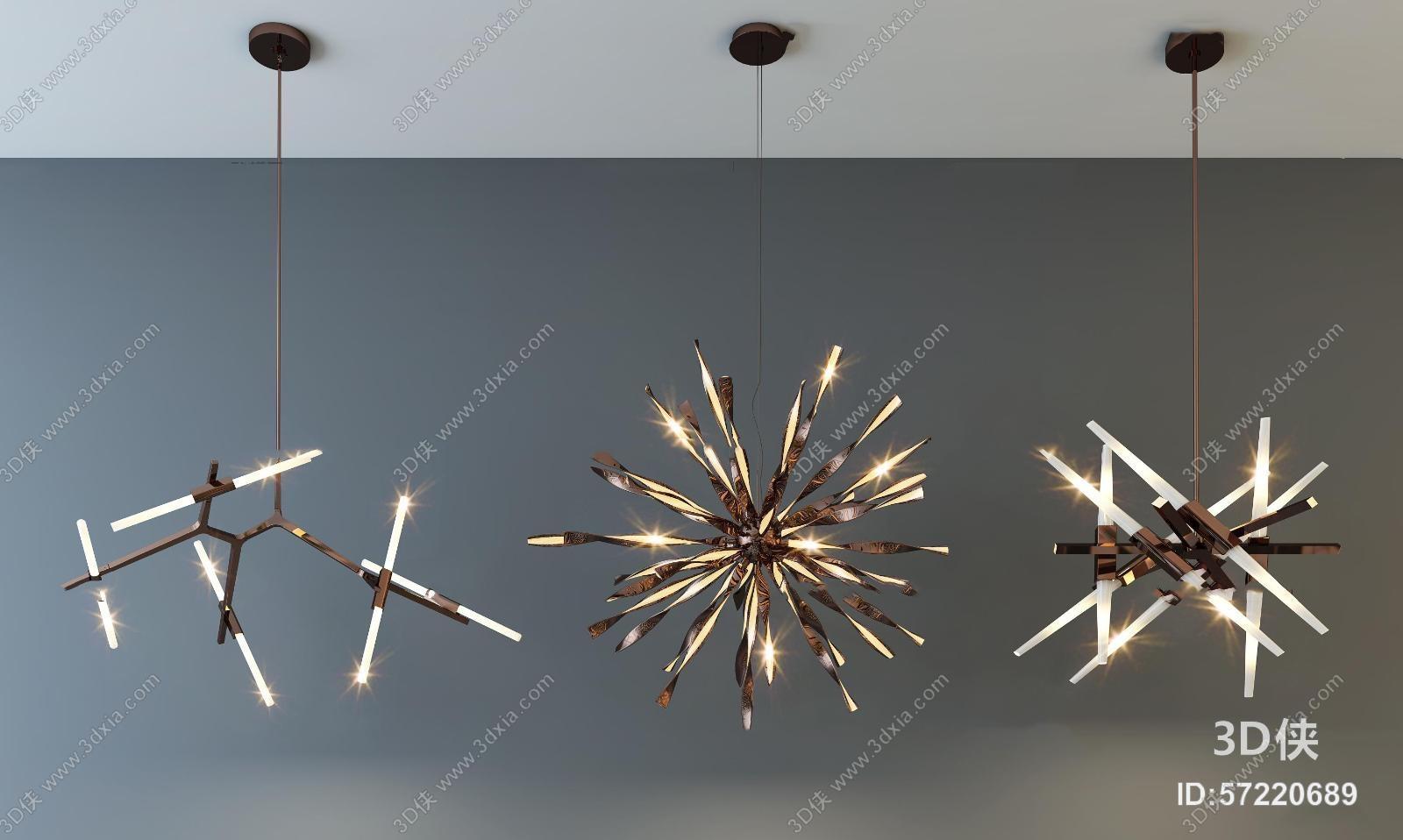 现代时尚吊灯灯具组合3D模型
