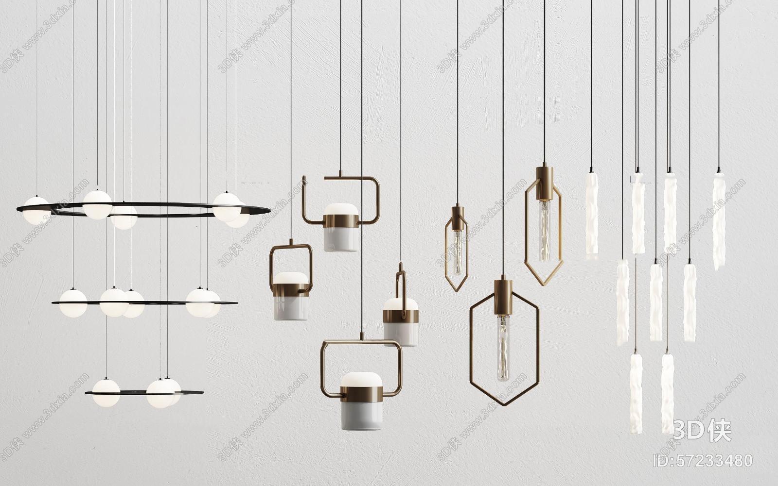 新中式吊灯组合3D模型