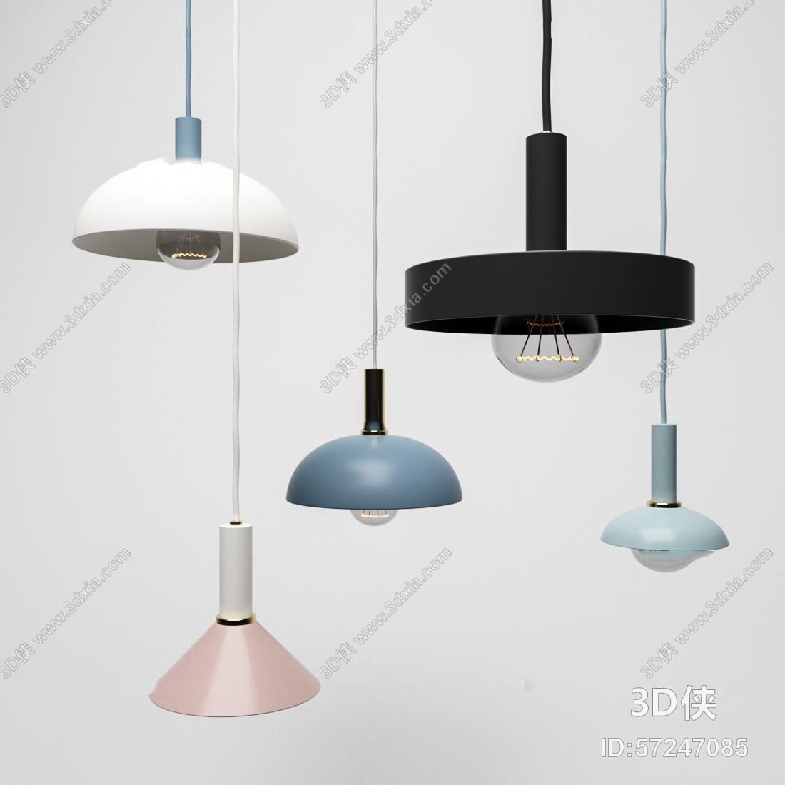 现代金属小吊灯组合3D模型
