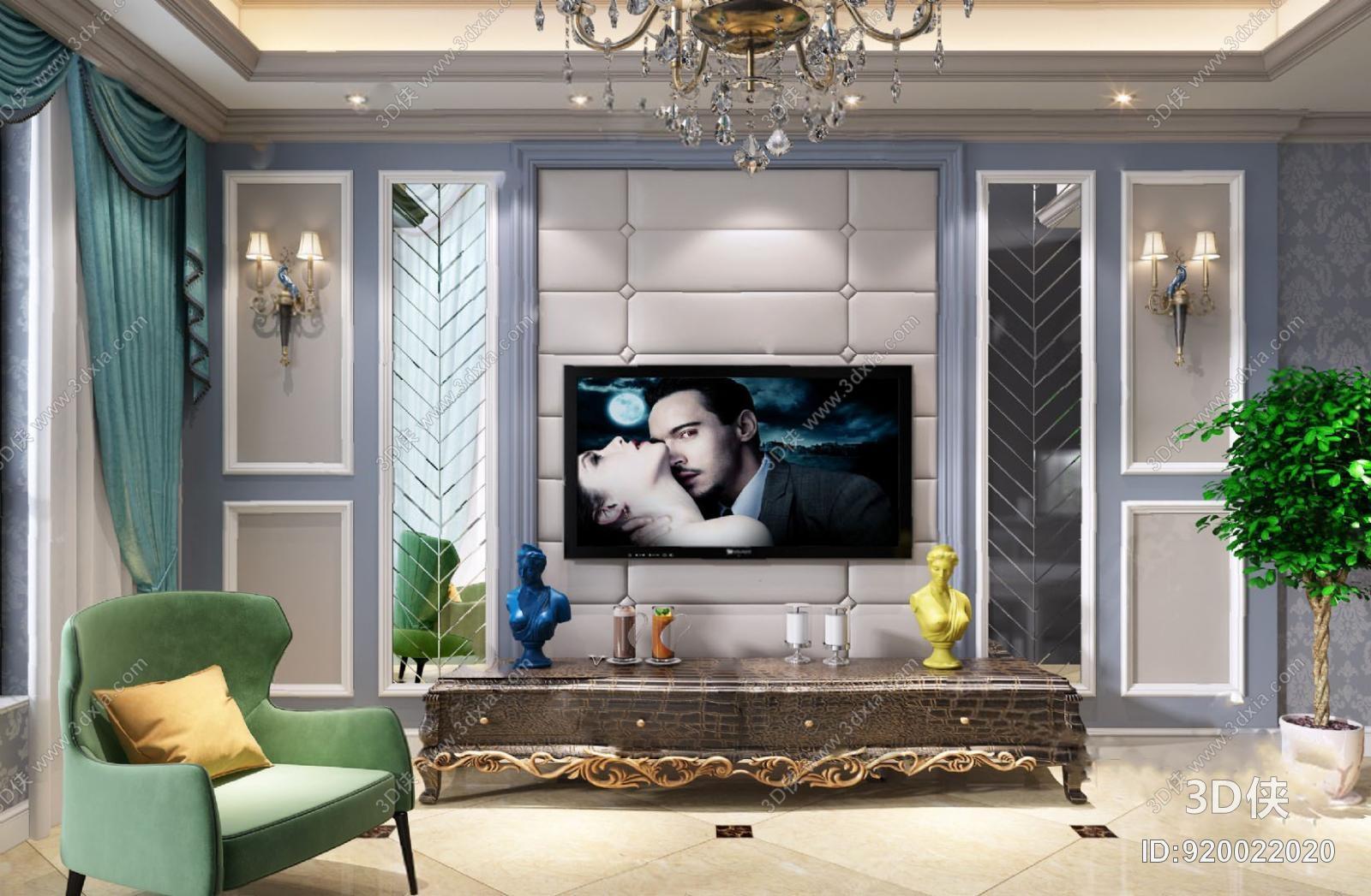 墙绘效果图素材免费下载,本作品主题是电视墙3d模型,编号是920022020