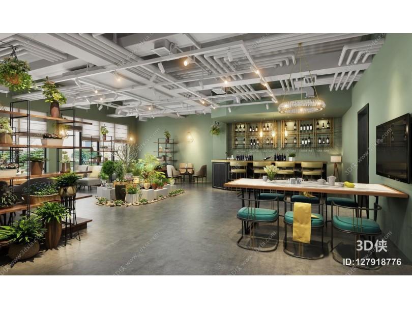 现代花店 现代花店 咖啡厅 吧台 吧椅 植物 花 单椅 吊灯 装饰架