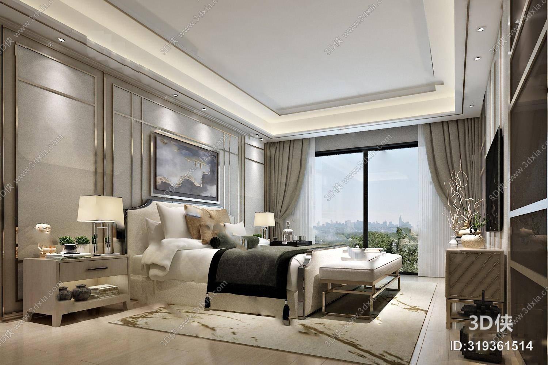 中式卧室3D模型 双人床 床头柜 装饰画 沙发凳