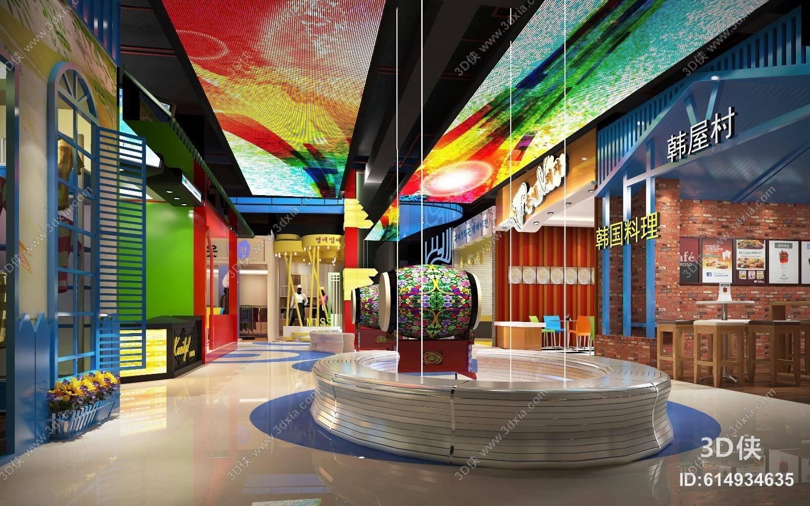 過道效果圖素材免費下載,本作品主題是商場過道 黃色花 圓柱形裝飾品