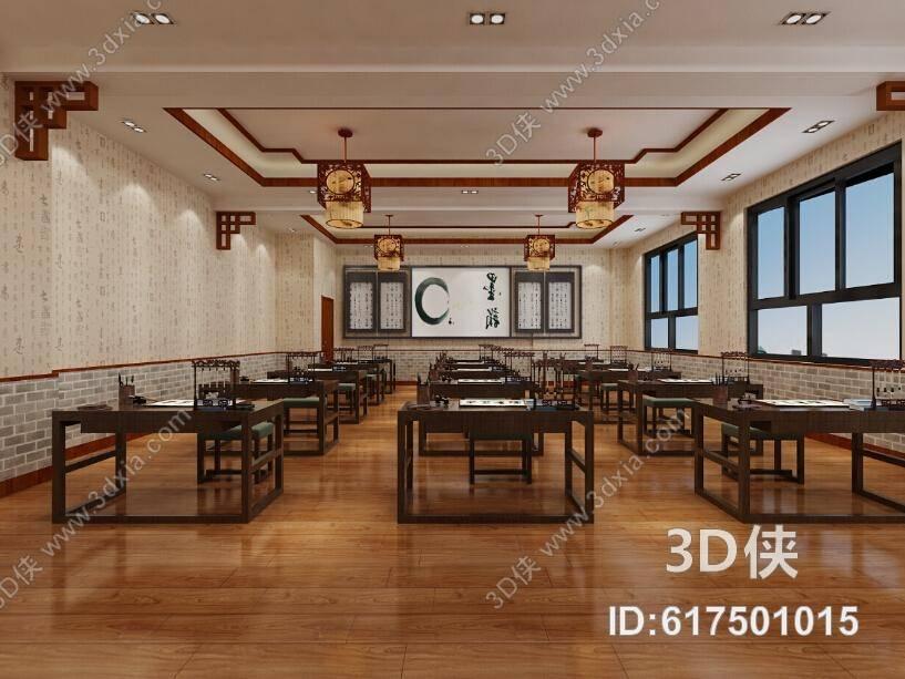 教室 新中式原木色木艺书桌椅组合 新中式原木色木艺吊灯 文房四宝