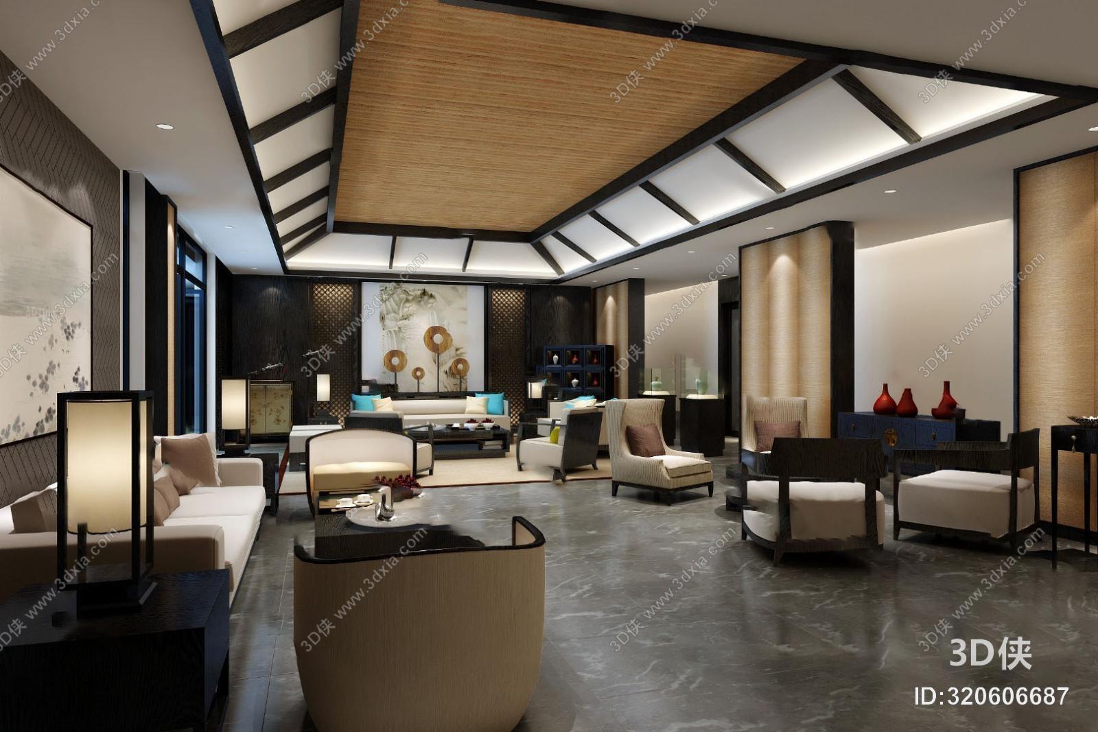 咖啡厅3d模型是由室内设计师小白上传.