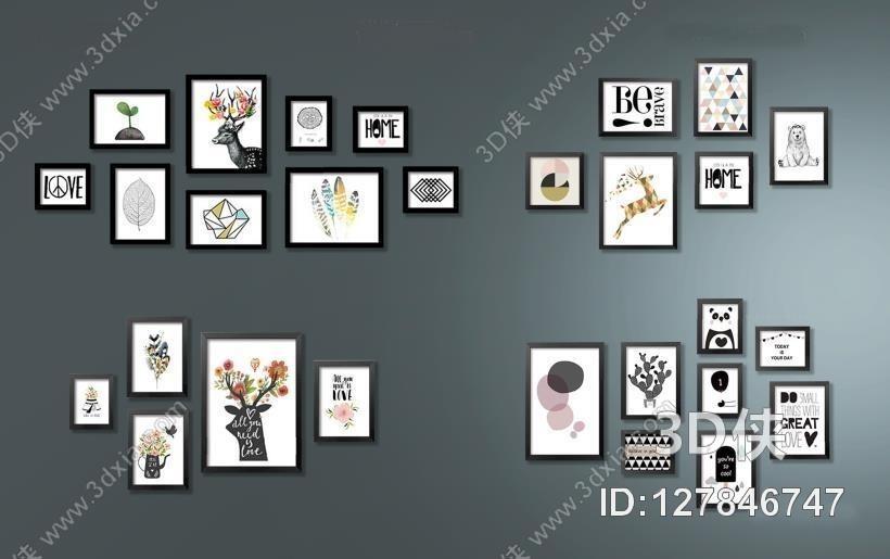 现代墙饰墙绘  效果图素材免费下载,本作品主题是现代北欧风格装饰画