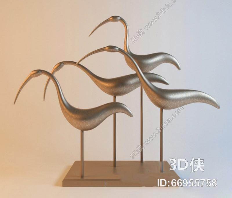 效果图素材免费下载,本作品主题是金属鹤造型装饰摆件木艺 装饰 陶瓷