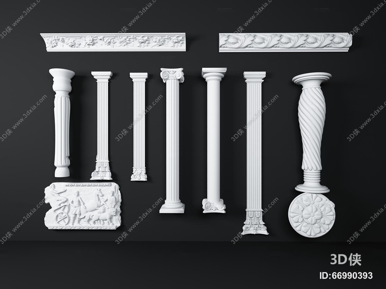 欧式白色石膏雕花柱子组合3d模型【id:66990393】