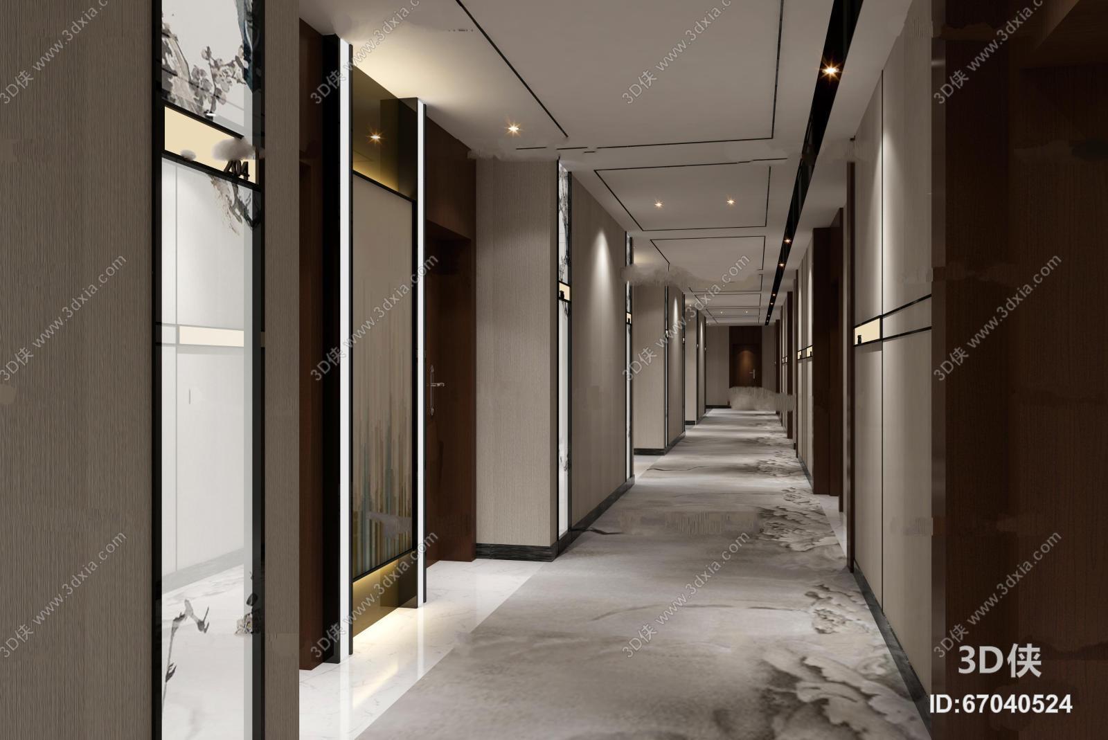 酒店玄关过道效果图素材免费下载,本作品主题是中式酒店走廊通道3d