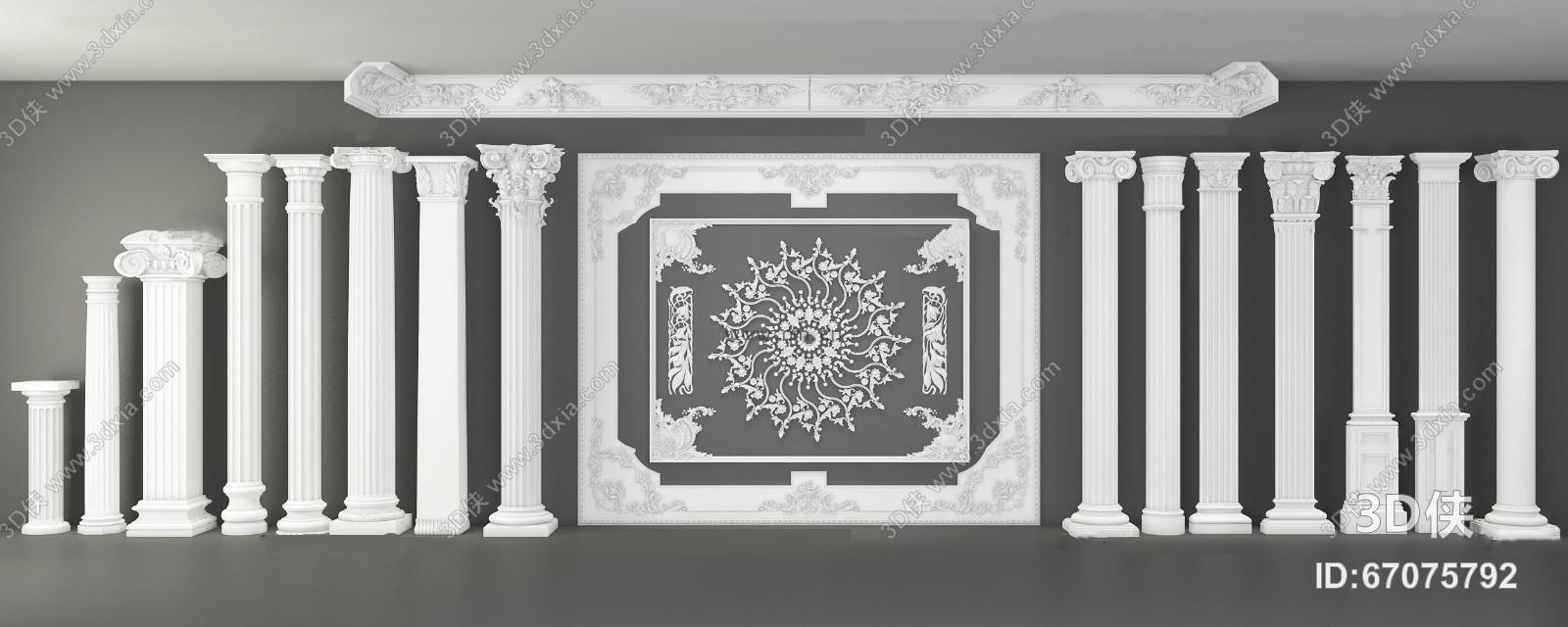 欧式石膏罗马柱雕花柱头组合3d模型【id:67075792】