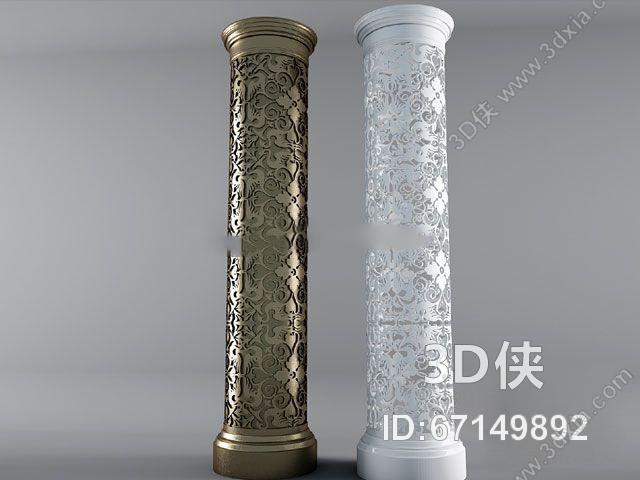 格式是max 2010,建议使用3dmax 2012 软件打开,该柱子图片素材大小是0