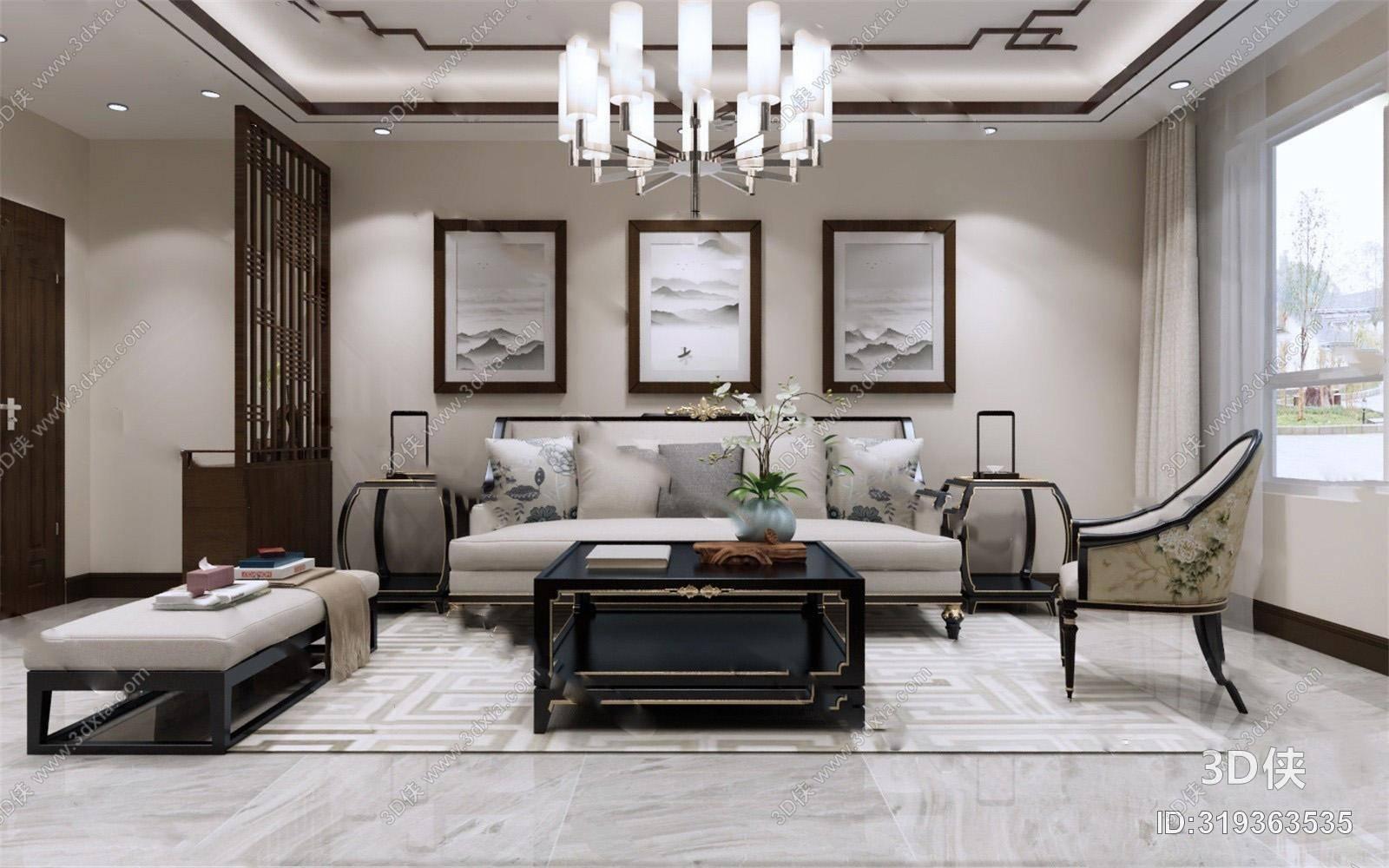 中式客餐厅3D模型 沙发凳 单人沙发 茶几 吊灯