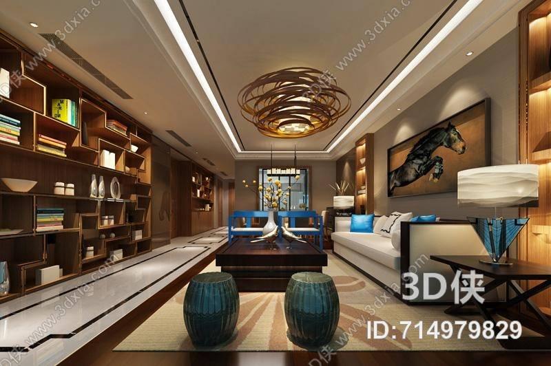 別墅客廳效果圖素材免費下載,本作品主題是現代別墅客廳 現代綠色圓柱