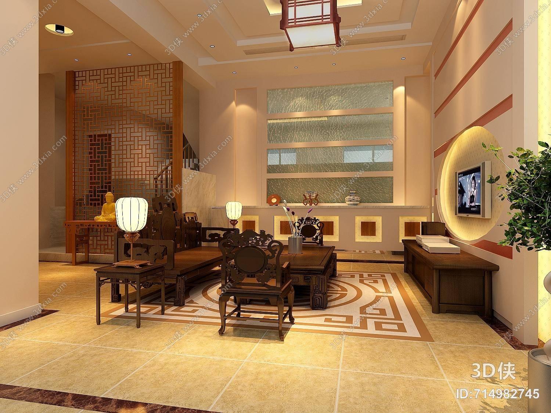 傳統中式家居客廳 傳統中式棕色木藝沙發茶幾組合
