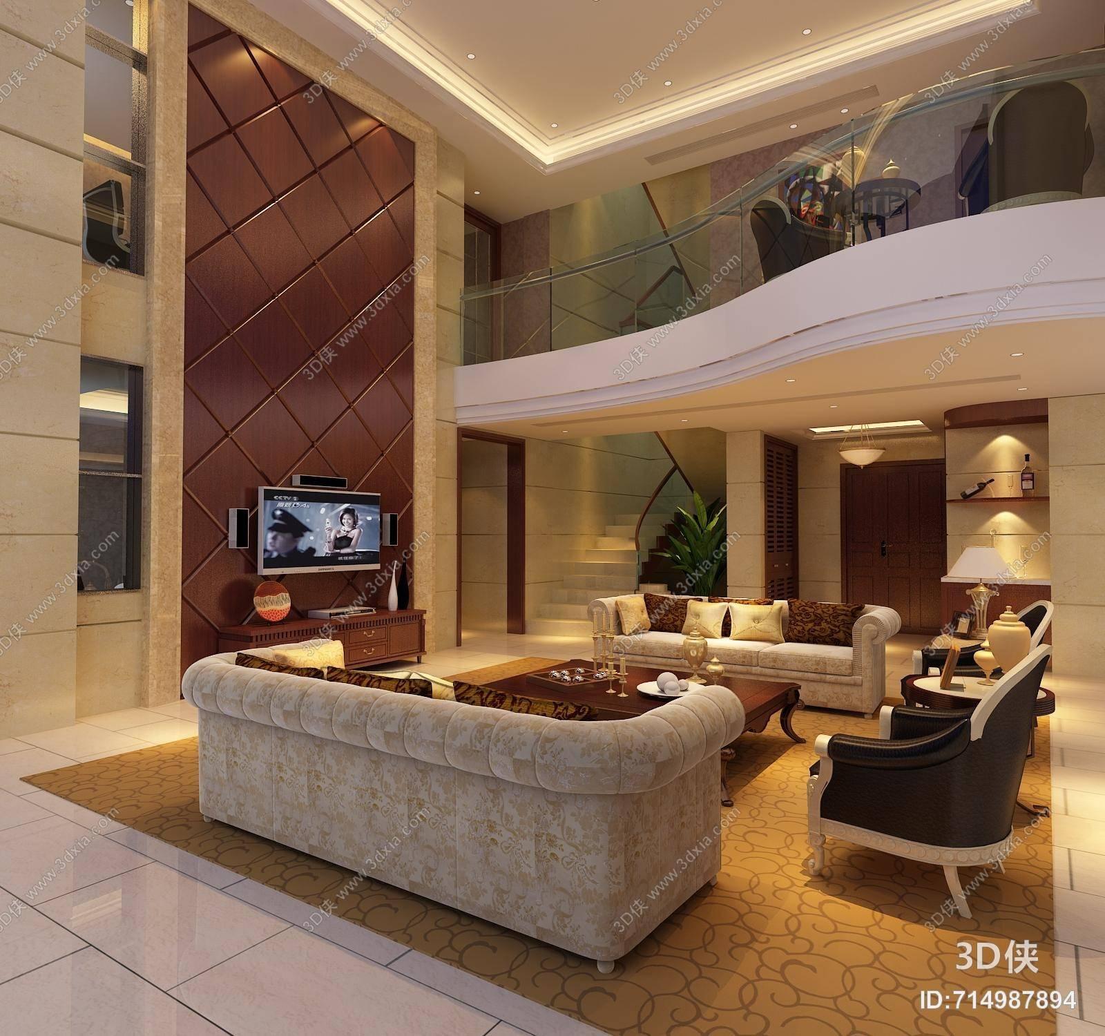 欧式简约别墅客厅 欧式简约长方形木艺电视柜 欧式简约沙发茶几组合