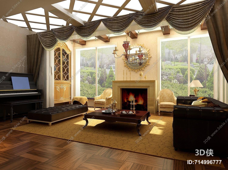 欧式简约家居客厅 大理石壁炉 欧式简约铜艺吊灯 欧式简约黑色长方形