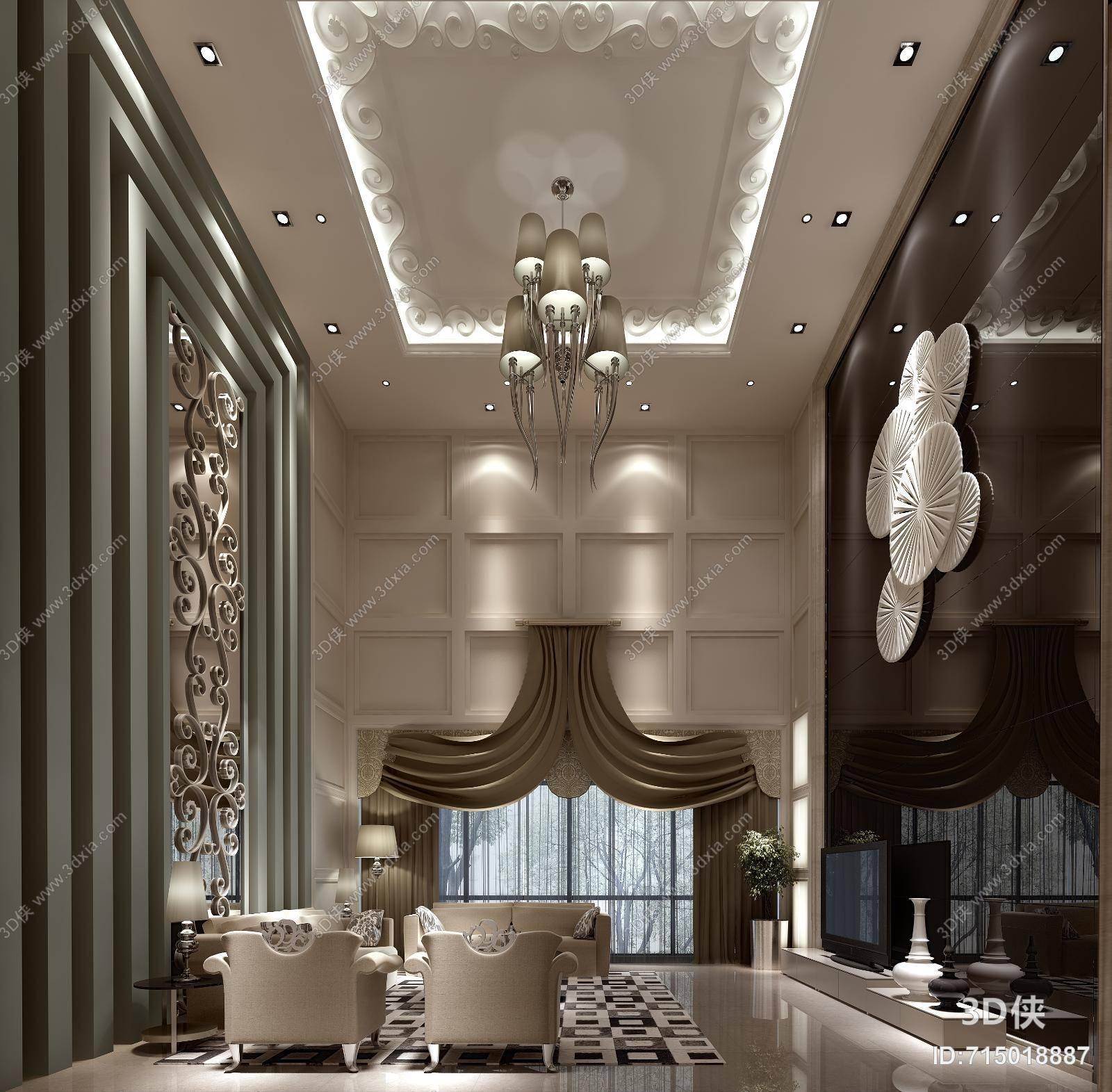 欧式简约别墅客厅 欧式简约金属吊灯 白色圆形纸质墙饰挂件组合 欧式