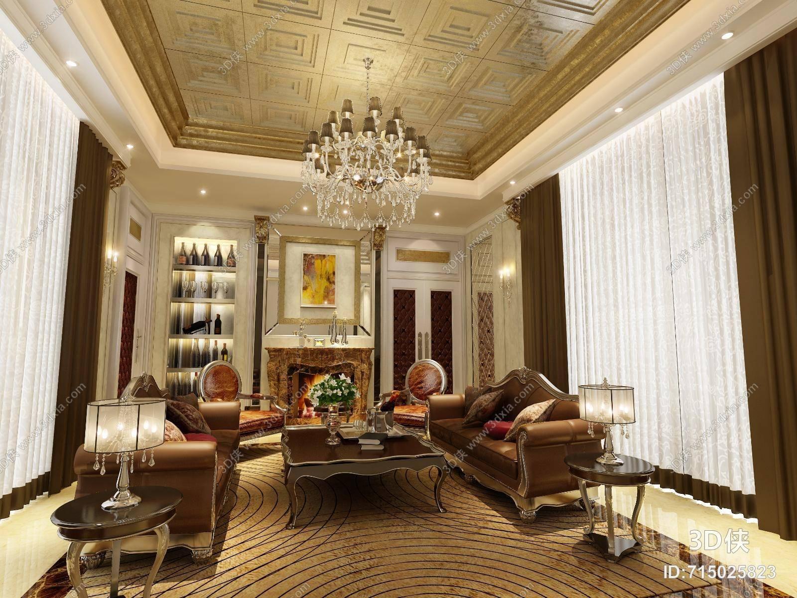 经典欧式别墅客厅 经典欧式沙发茶几组合 经典欧式白色水晶吊灯 经典